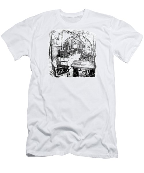 Men's T-Shirt (Slim Fit) featuring the drawing Green Dragon Inn Nook by Kathy Kelly
