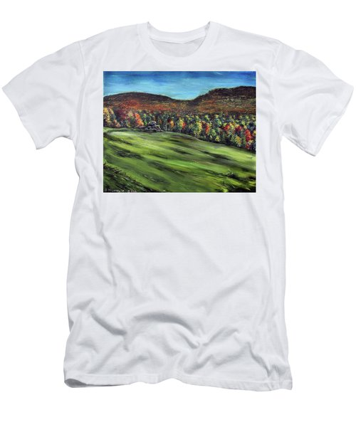 Men's T-Shirt (Slim Fit) featuring the painting Green Mountain Retreat by Denny Morreale