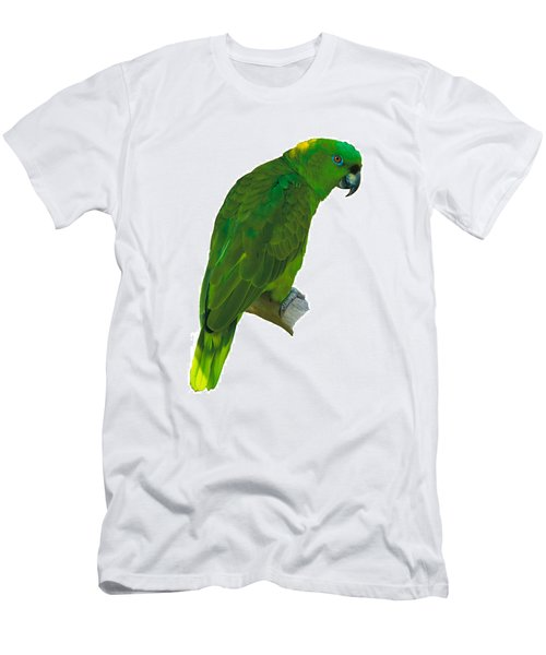 Green Parrot On White  Men's T-Shirt (Athletic Fit)
