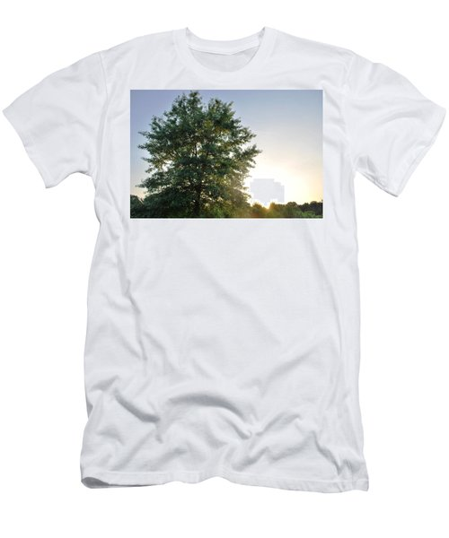 Green Tree Bright Sunshine Background Men's T-Shirt (Athletic Fit)