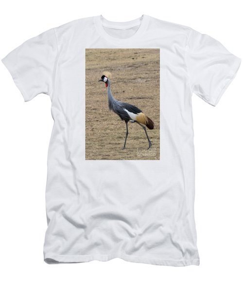 Men's T-Shirt (Slim Fit) featuring the photograph Grey Crowned Crane In The Wild by Pravine Chester