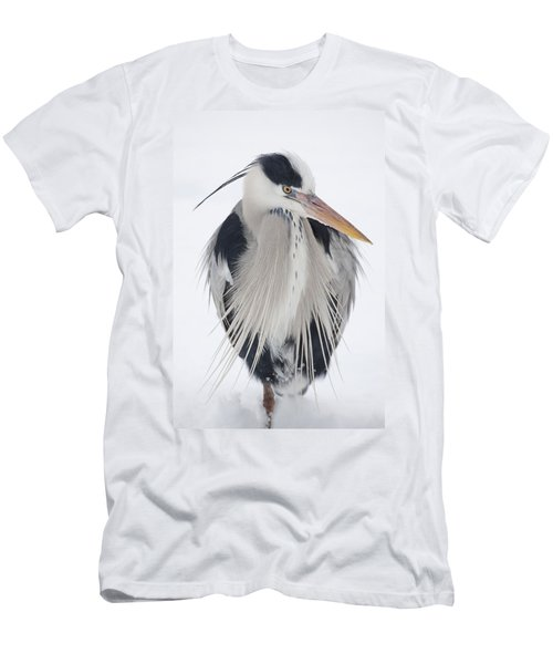 Grey Heron In The Snow Men's T-Shirt (Athletic Fit)