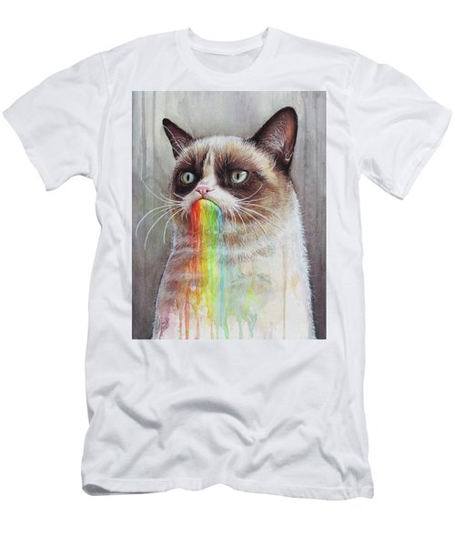 Grumpy Cat Tastes The Rainbow Men's T-Shirt (Athletic Fit)