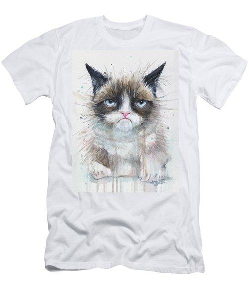 Grumpy Cat Watercolor Painting  Men's T-Shirt (Slim Fit) by Olga Shvartsur