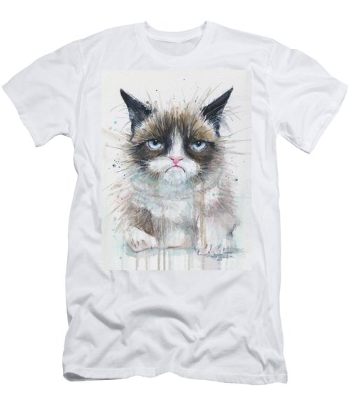 Grumpy Cat Watercolor Painting  Men's T-Shirt (Athletic Fit)