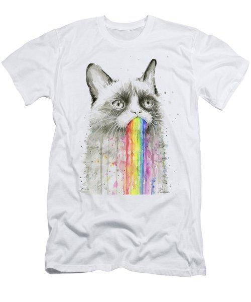 Grumpy Rainbow Cat Men's T-Shirt (Athletic Fit)