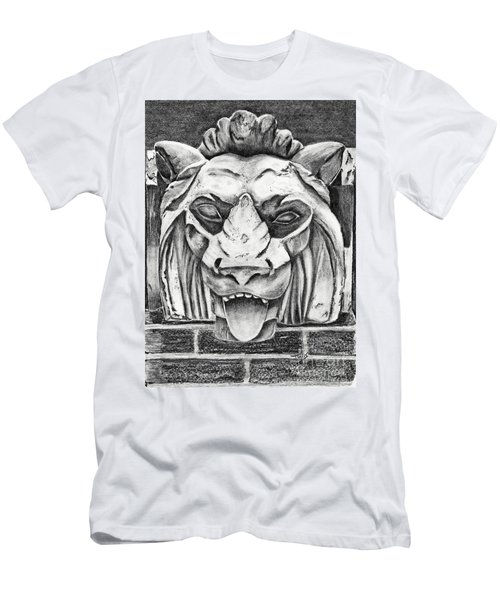 Men's T-Shirt (Slim Fit) featuring the drawing Guardian Lion by Terri Mills