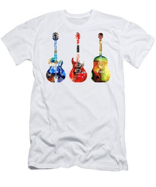 Guitar Threesome - Colorful Guitars By Sharon Cummings Men's T-Shirt (Slim Fit) by Sharon Cummings