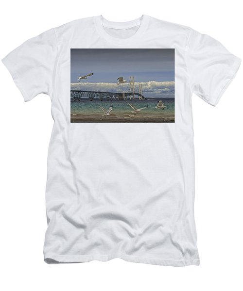 Gulls Flying By The Bridge At The Straits Of Mackinac Men's T-Shirt (Athletic Fit)