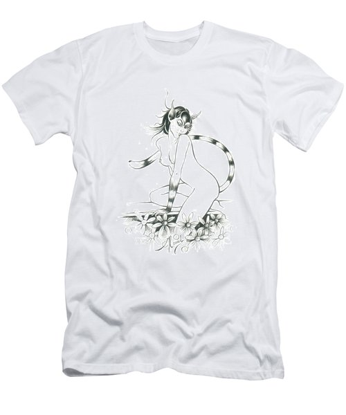 Half Wild Cat Men's T-Shirt (Athletic Fit)