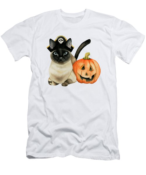Halloween Siamese Cat With Jack O' Lantern Men's T-Shirt (Athletic Fit)