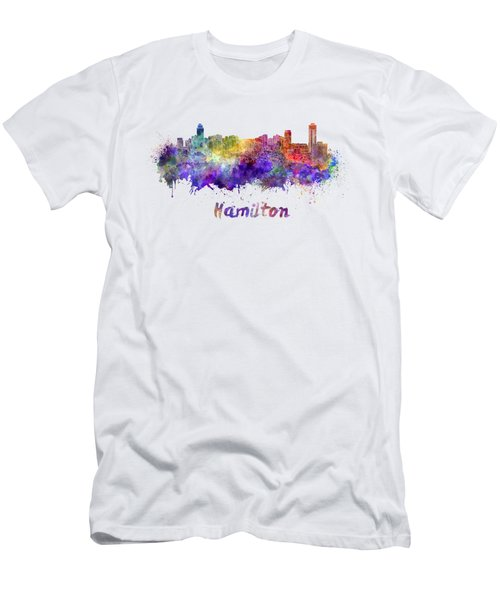 Hamilton Skyline In Watercolor Men's T-Shirt (Athletic Fit)