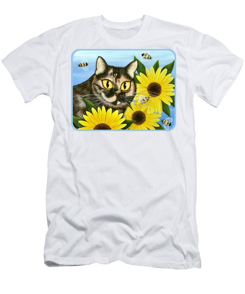 Men's T-Shirt (Slim Fit) featuring the painting Hannah Tortoiseshell Cat Sunflowers by Carrie Hawks