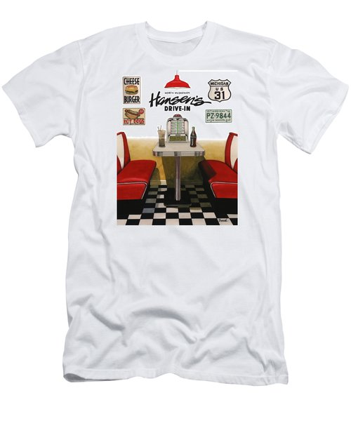 Men's T-Shirt (Slim Fit) featuring the painting Hansen's Drive-in by Ferrel Cordle