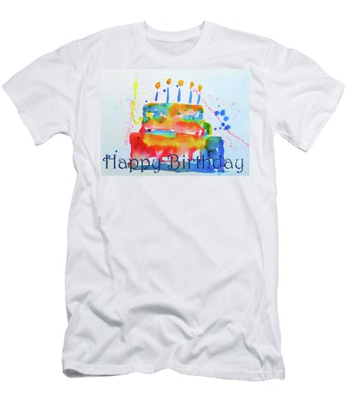 Men's T-Shirt (Athletic Fit) featuring the painting Happy Birthday Blue Cake  by Claire Bull