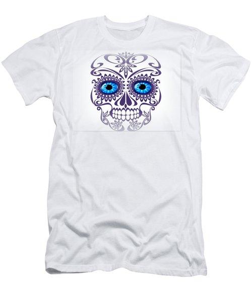 Happy Blue-eyed Skull Men's T-Shirt (Athletic Fit)
