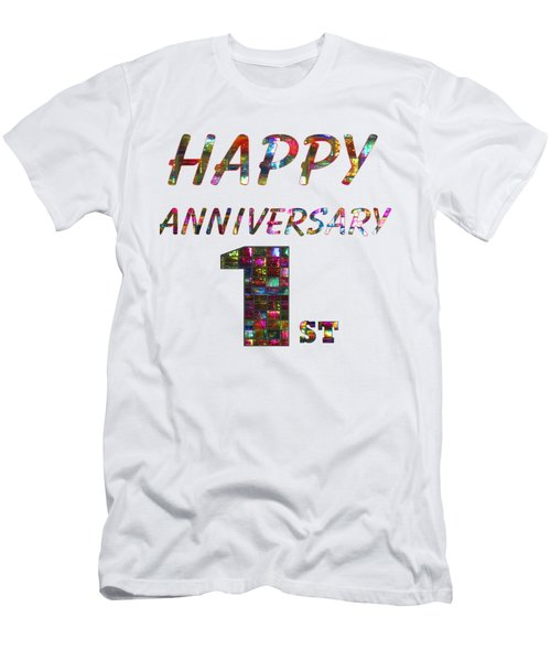 Happy First 1st Anniversary Celebrations Design On Greeting Cards T-shirts Pillows Curtains Phone   Men's T-Shirt (Slim Fit) by Navin Joshi