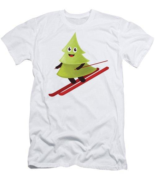 Happy Pine Tree On Ski Men's T-Shirt (Athletic Fit)