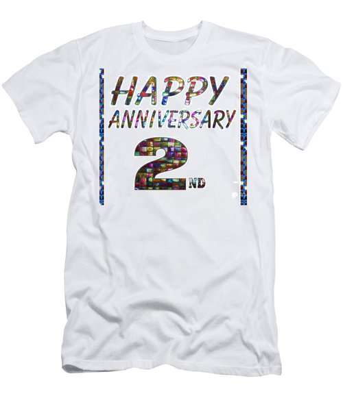 Happy Second 2nd Anniversary Celebrations Design On Greeting Cards T-shirts Pillows Curtains Phone   Men's T-Shirt (Athletic Fit)