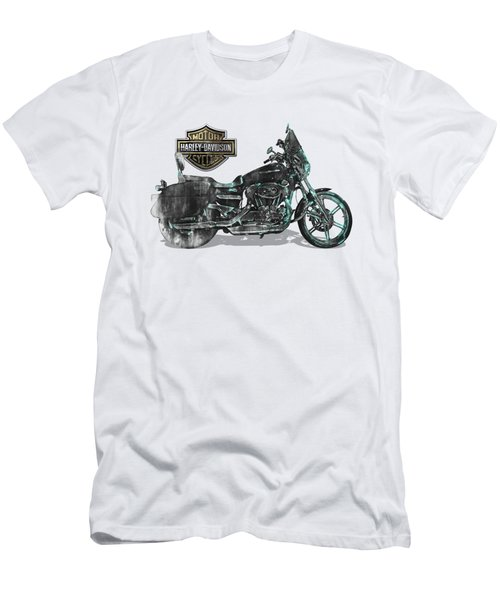 Men's T-Shirt (Slim Fit) featuring the digital art Harley-davidson Motorcycle With 3d Badge Over Vintage Patent by Serge Averbukh
