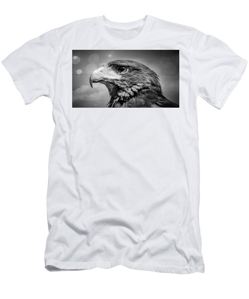 Harris Hawk  Black And White Men's T-Shirt (Athletic Fit)