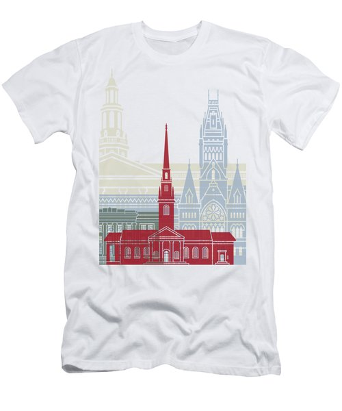 Harvard Skyline Poster Men's T-Shirt (Athletic Fit)