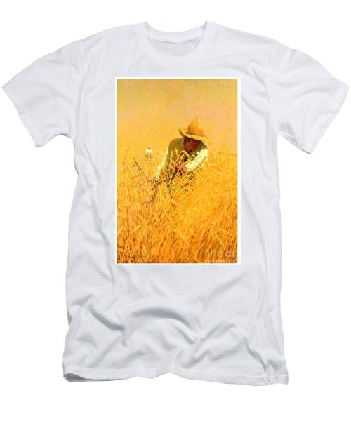 Men's T-Shirt (Athletic Fit) featuring the painting Harvesting The Wheat 1908 Harvey T Dunn by Peter Gumaer Ogden