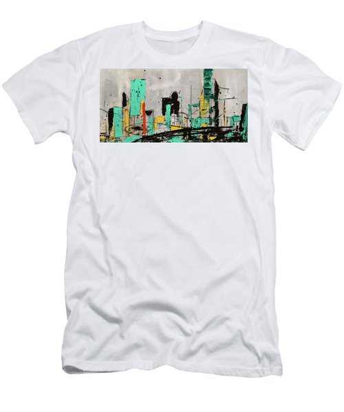 Men's T-Shirt (Slim Fit) featuring the painting Hashtag City by Carmen Guedez