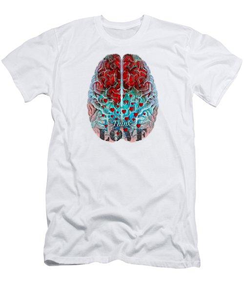 Heart Art - Think Love - By Sharon Cummings Men's T-Shirt (Slim Fit) by Sharon Cummings