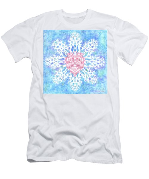 Heart In Snowflake Men's T-Shirt (Athletic Fit)