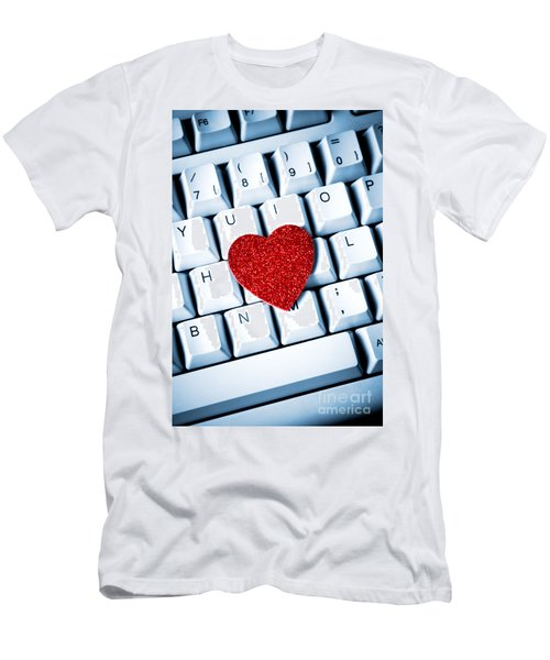 Heart On Keyboard Men's T-Shirt (Athletic Fit)