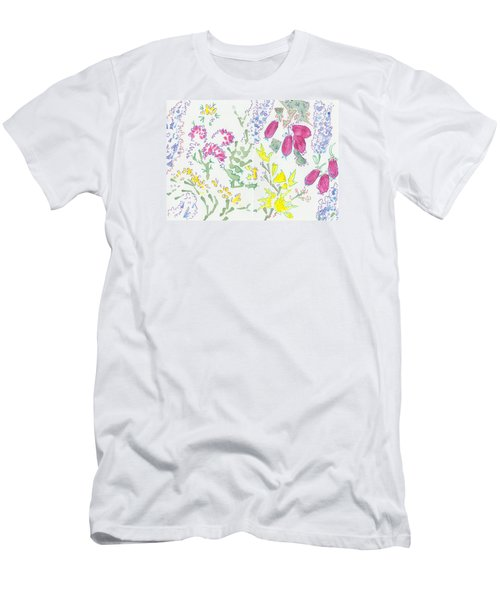 Heather And Gorse Watercolor Illustration Pattern Men's T-Shirt (Athletic Fit)