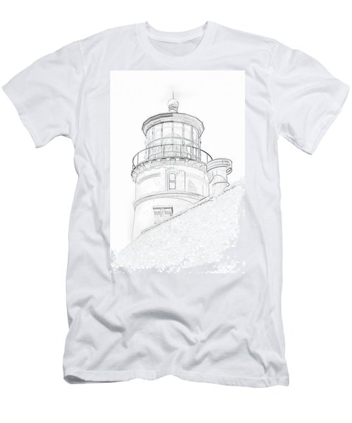 Hecitia Head Lighthouse Sketch Men's T-Shirt (Slim Fit) by Jeffrey Jensen