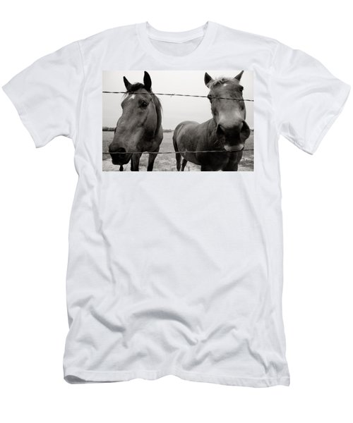 Men's T-Shirt (Slim Fit) featuring the photograph Hello Horses by Toni Hopper