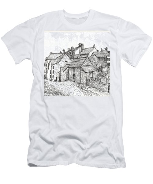 Men's T-Shirt (Slim Fit) featuring the drawing Hemsley Village - In Yorkshire England  by Carol Wisniewski