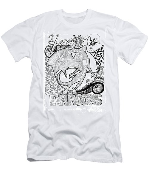 Here Be Dragons Men's T-Shirt (Slim Fit) by Wendy Coulson