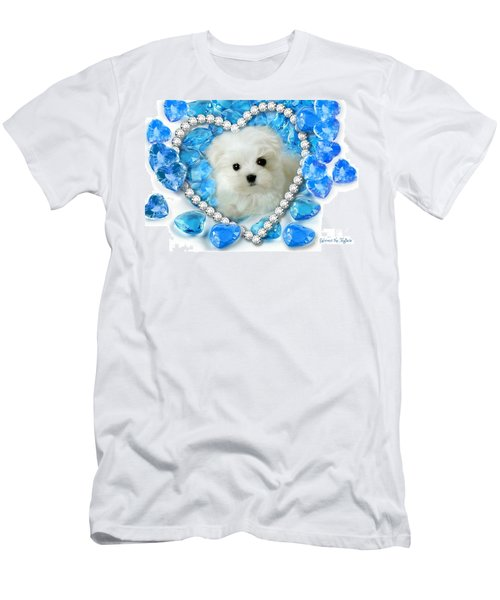 Hermes The Maltese And Blue Hearts Men's T-Shirt (Athletic Fit)