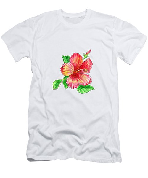 Hibiscus Flower White Background Men's T-Shirt (Athletic Fit)