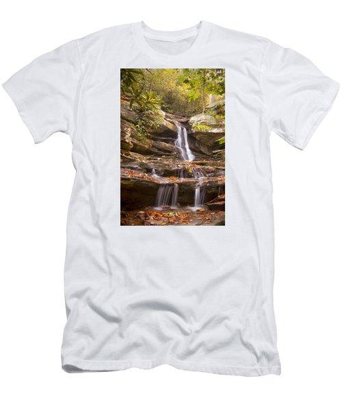 Men's T-Shirt (Slim Fit) featuring the photograph Hidden Falls Of Danbury, Nc by Bob Decker