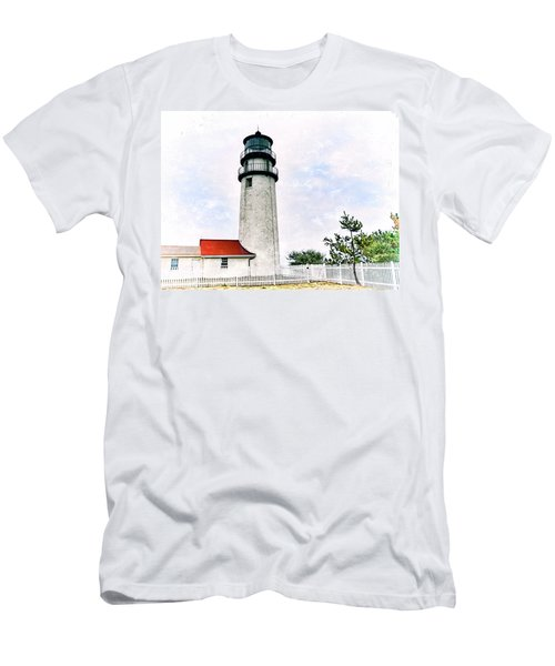 Men's T-Shirt (Slim Fit) featuring the photograph Highland Lighthouse Cape Cod by Marianne Campolongo