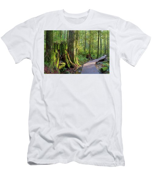 Hiking Trail Through Forest In Lynn Canyon Park Men's T-Shirt (Athletic Fit)