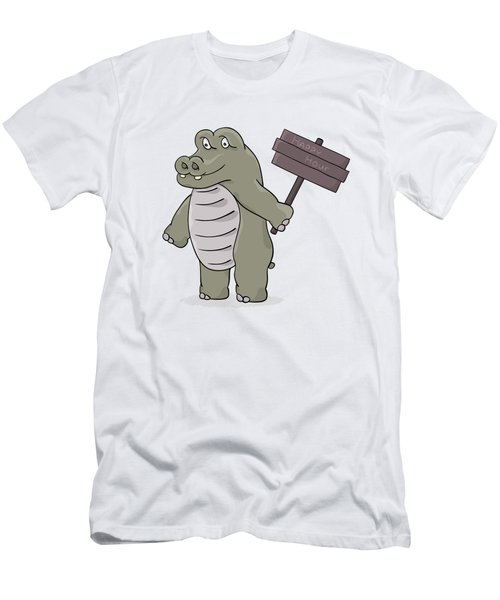 Hippopotamus With Happy Hour Sign Men's T-Shirt (Athletic Fit)