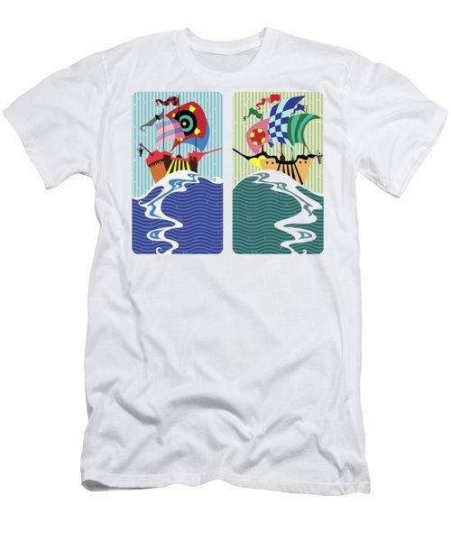 Men's T-Shirt (Athletic Fit) featuring the digital art Historic Sail Boats,cartoon  by Ariadna De Raadt