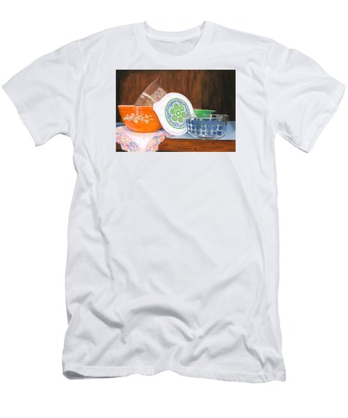 Men's T-Shirt (Slim Fit) featuring the painting History Of Pyrex by Lynne Reichhart