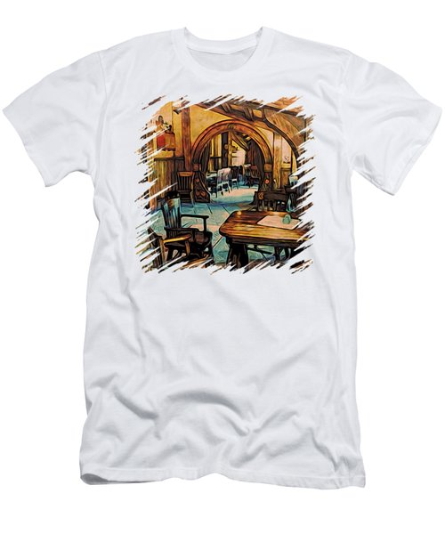 Men's T-Shirt (Slim Fit) featuring the digital art Hobbit Writing Nook T-shirt by Kathy Kelly