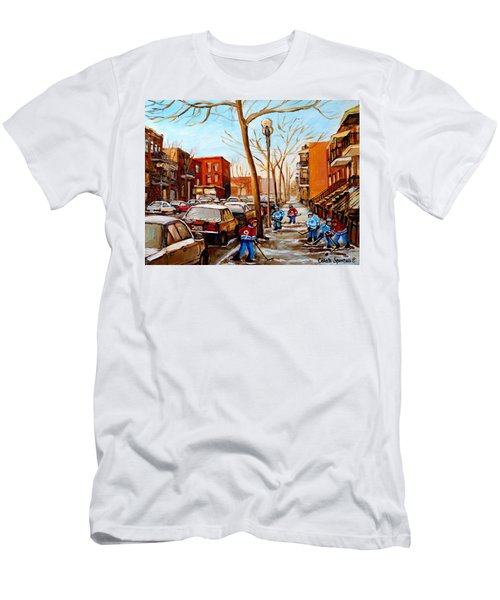Men's T-Shirt (Slim Fit) featuring the painting Hockey On St Urbain Street by Carole Spandau