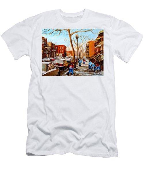 Hockey On St Urbain Street Men's T-Shirt (Slim Fit) by Carole Spandau