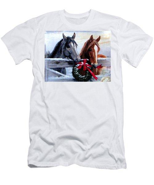 Holiday Barnyard Men's T-Shirt (Slim Fit) by Judyann Matthews
