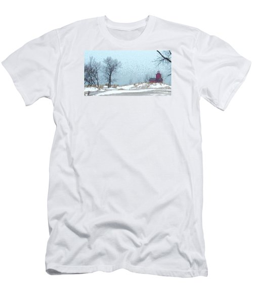 Men's T-Shirt (Athletic Fit) featuring the photograph Holland Harbor South Pierhead Lighthouse - View 4 by Linda Shafer