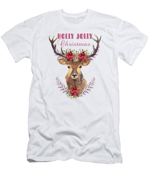 Holly Jolly Christmas Watercolor Deer Head Poinsettia Flowers Men's T-Shirt (Athletic Fit)